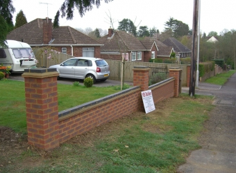 Brick wall built in front garden by MB Builders, Gosport, Hampshire